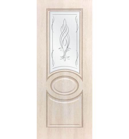 фото: Дверь ДП Престиж-1, ПВХ № 1, патина капучино, стекло сатинат гравировка рис. Бутон