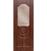 фото: Дверь ДП Муза, ПВХ № 2, стекло сатинат бронза гравировка рис. 1