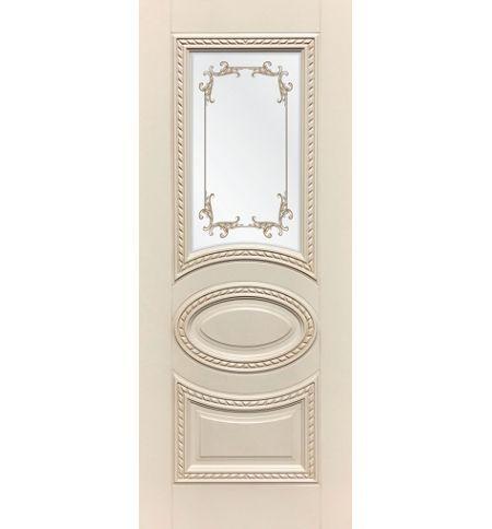 фото: Дверь ДП Лацио, эмалит № 32, патина персик, стекло сатинат фотопечать рис. 1