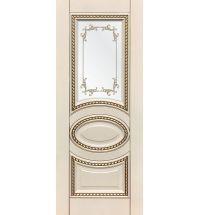 фото: Дверь ДП Лацио, эмалит № 32, патина золото-G, стекло сатинат фотопечать рис. 1
