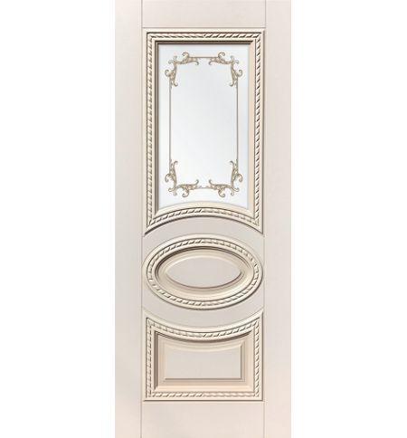 фото: Дверь ДП Лацио, эмалит № 31, патина персик, стекло сатинат фотопечать рис. 1