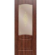 фото: Дверь ДП Дубрава-1, ПВХ № 2, стекло сатинат бронза наплыв золотой рис. 1