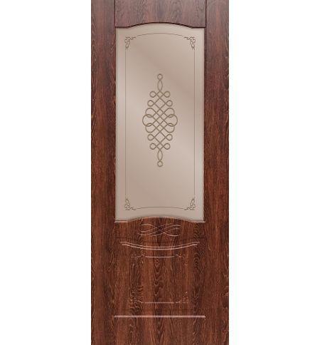 фото: Дверь ДП Дубрава-1, ПВХ № 2, стекло сатинат бронза мат. с рис. 1 1-е матирование, гравировка