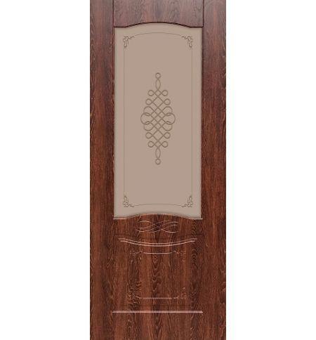 фото: Дверь ДП Дубрава-1, ПВХ № 2, стекло сатинат бронза мат. с рис. 1 1-е матирование