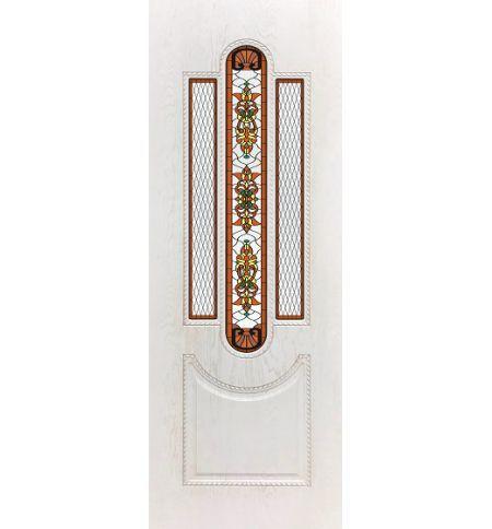 фото: Дверь ДП Джаз-3, ПВХ № 11, патина капучино, стекло сатинат фотопечать рис. 1