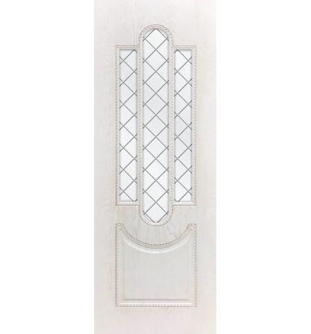 фото: Дверь ДП Джаз-3, ПВХ № 11, патина капучино, стекло сатинат гравировка рис. 1