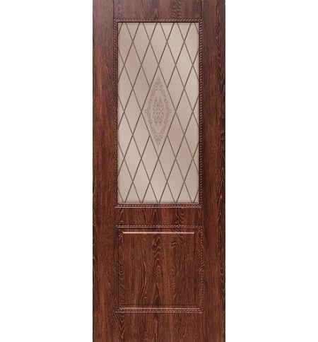 фото: Дверь ДП Гранд-1, ПВХ № 2, стекло сатинат матовое с рис. 1 на бронзе, гравировка