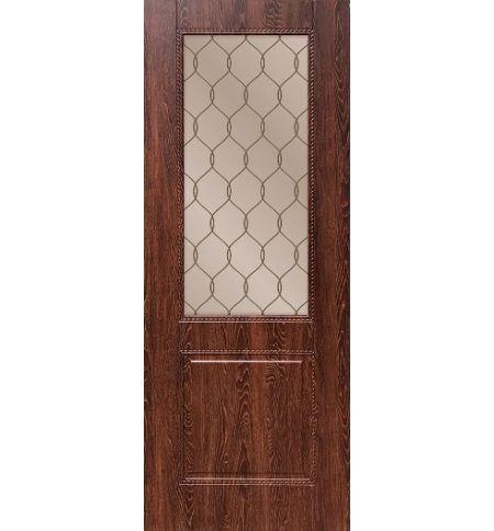 фото: Дверь ДП Гранд-1, ПВХ № 2, стекло сатинат бронза гравировка рис. 1