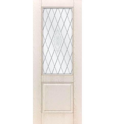 фото: Дверь ДП Гранд-1, ПВХ № 12, патина капучино, стекло сатинат матовое с рис. 1, гравировка