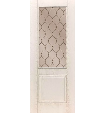 фото: Дверь ДП Гранд-1, ПВХ № 12, патина капучино, стекло сатинат бронза гравировка рис. 1