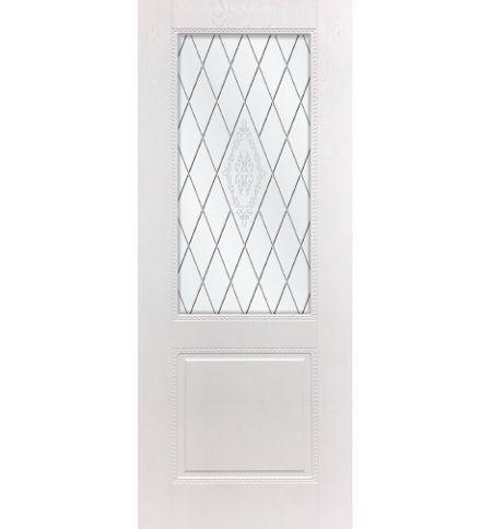 фото: Дверь ДП Гранд-1, ПВХ № 11, стекло сатинат матовое с рис. 1, гравировка