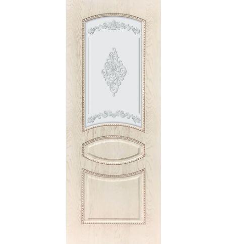 фото: Дверь ДП Танго-3, ПВХ № 12, патина слоновая кость, стекло матовое с рис. 2 2-е матирование