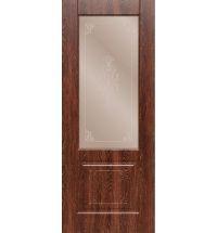 фото: Дверь ДП Стародуб-1, ПВХ № 2, стекло сатинат бронза наплыв прозрачный рис. 1