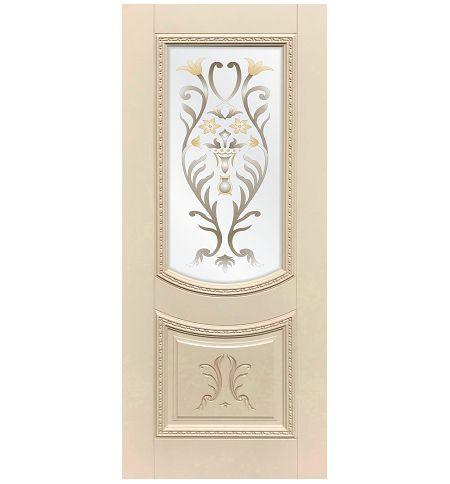 фото: Дверь ДП Сицилия, эмалит № 33, патина персик, стекло сатинат фотопечать рис. 1