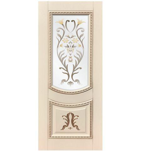 фото: Дверь ДП Сицилия, эмалит № 33, патина золото-G, стекло сатинат фотопечать рис. 1