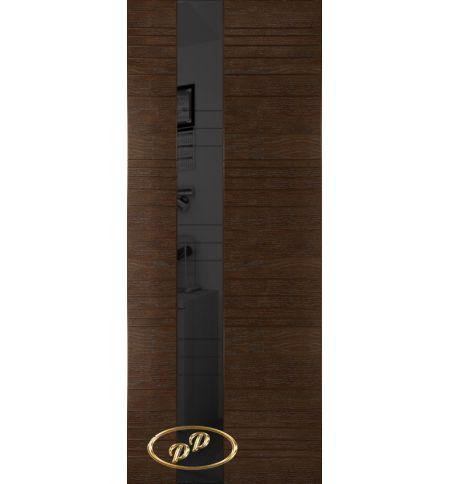 фото: Дверь Сити, шпон натуральный дуб тон каштан, стекло лакобель черное рис.2, гравировка