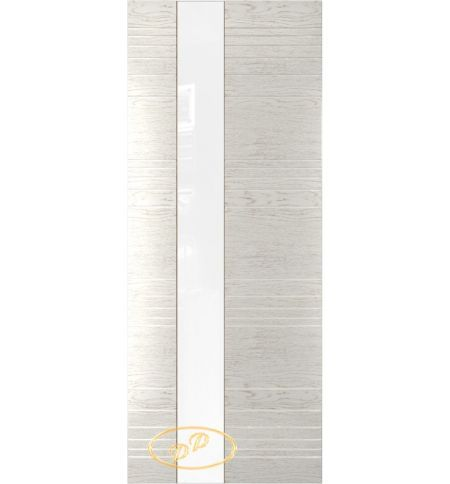 фото: Дверь Сити, шпон натуральный дуб тон капучино, стекло лакобель белое без рис.