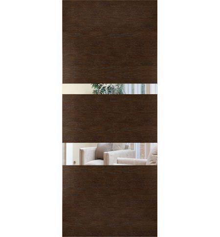 фото: Дверь Сити-4, шпон натуральный дуб тон каштан, зеркало