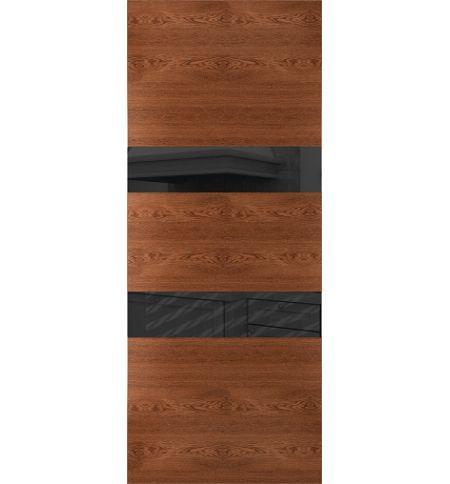 фото: Дверь Сити-3, шпон натуральный дуб тон коньяк, стекло лакобель черное рис.1, гравировка