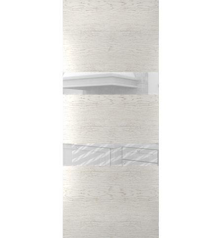 фото: Дверь Сити-3, шпон натуральный дуб тон капучино, стекло лакобель белое