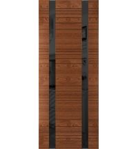 фото: Дверь Сити-2, шпон натуральный дуб тон коньяк, стекло лакобель черное рис.1, гравировка
