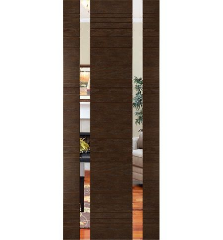 фото: Дверь Сити-2, шпон натуральный дуб тон каштан, зеркало