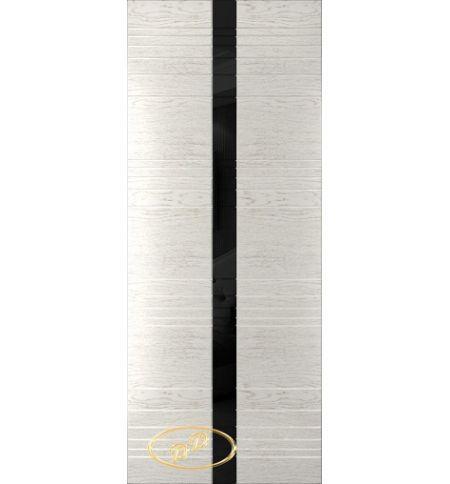 фото: Дверь Сити-1, шпон натуральный дуб тон капучино, стекло лакобель черное рис.1, гравировка