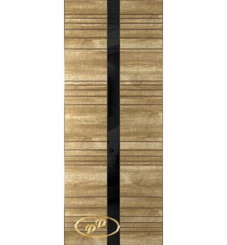 фото: Дверь Сити-1, шпон натуральный дуб бесцв.лак патина, стекло лакобель черное рис.1, гравировка