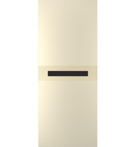 фото: Дверь Лайн-3, тон Крем, стекло лакобель черный