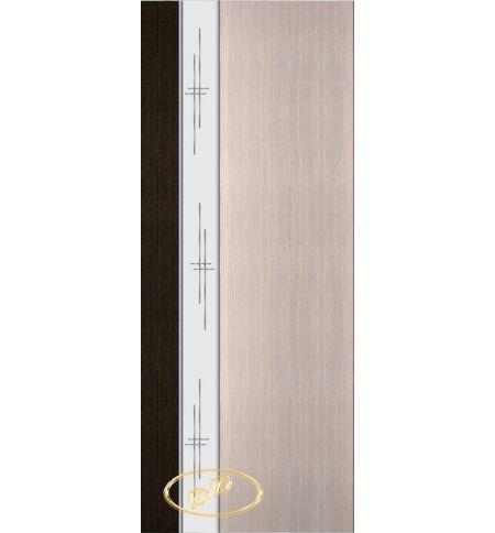 фото: Дверь Натали-2, шпон мореный дуб/беленый дуб, зеркало гравировка