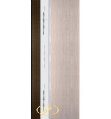 фото: Дверь Натали-2, шпон венге/беленый дуб, зеркало гравировка
