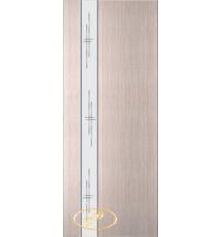 фото: Дверь Натали-1, шпон белёный дуб, зеркало гравировка
