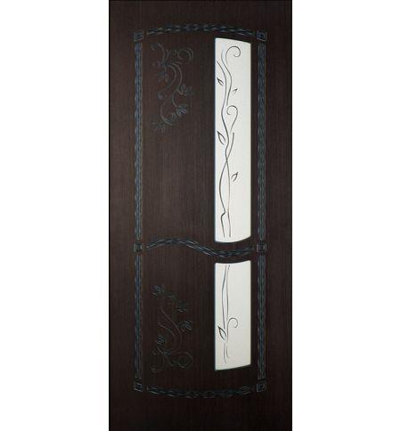 фото: Дверь Весна, шпон морёный дуб, пазы черные 3D, зеркало рис.Весна