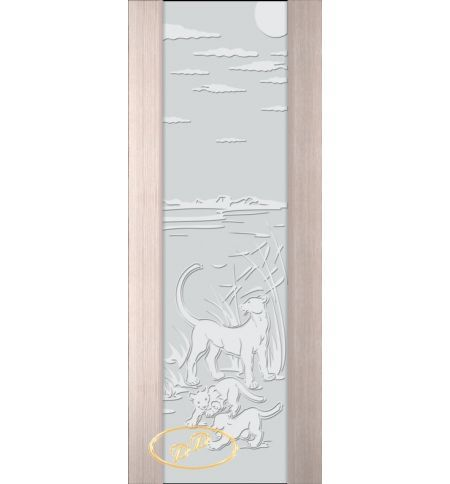 фото: Дверь Палермо, шпон беленый дуб, стекло белый триплекс рис.3