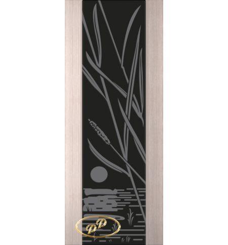 фото: Дверь Палермо, шпон беленый дуб, стекло черный триплекс рис.28