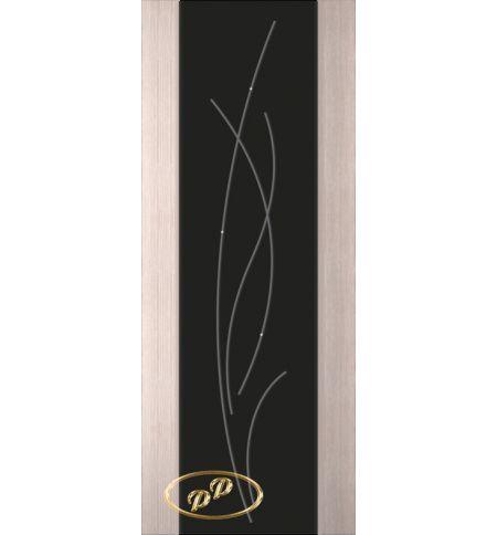 фото: Дверь Палермо, шпон беленый дуб, стекло черный триплекс рис.25