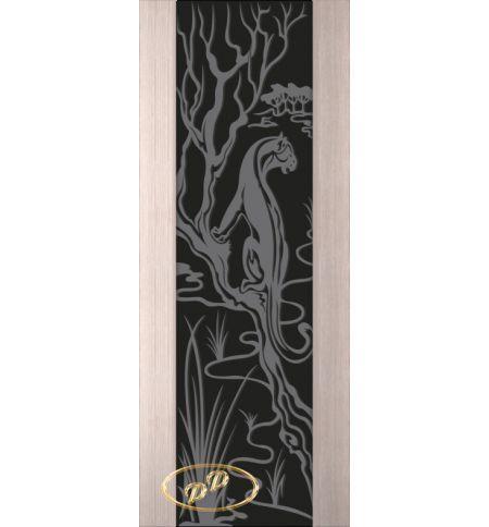 фото: Дверь Палермо, шпон беленый дуб, стекло черный триплекс рис.2