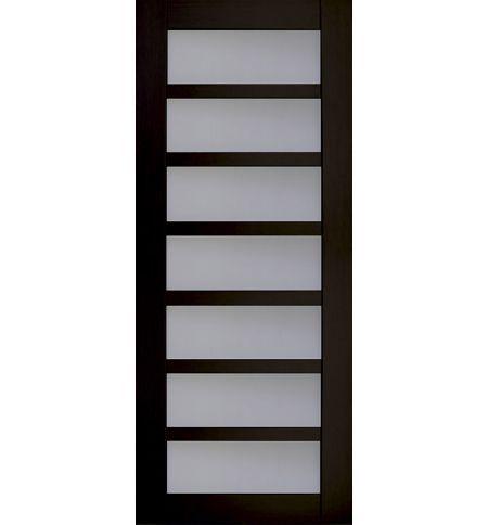 фото: Дверь Хай-тек модель №6, шпон мореный дуб стекло сатинат