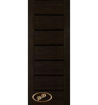 фото: Дверь Хай-тек модель №5, шпон мореный дуб стекло лакобель черное