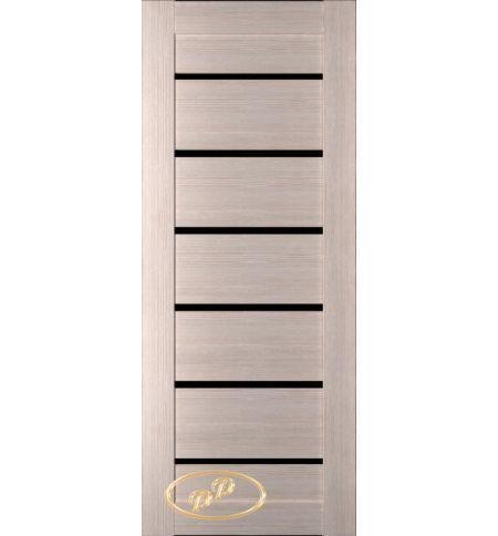 фото: Дверь Хай-тек модель №5, шпон беленый дуб стекло лакобель черное