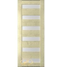 фото: Дверь Хай-тек модель №11, шпон натуральный дуб тон слоновая кость, стекло сатинат