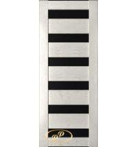 фото: Дверь Хай-тек модель №11, шпон натуральный дуб тон капучино, стекло лакобель