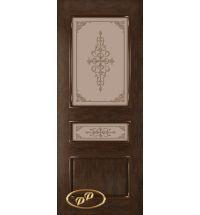 фото: Дверь Трио, шпон натуральный дуб тон каштан, стекло матовое бронза рис. Трио