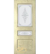 фото: Дверь Трио, шпон натур.дуб тон слоновая кость, стекло матовое рис.Трио