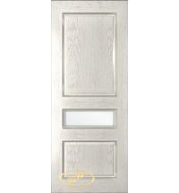 фото: Дверь Трио, шпон натур.дуб тон капучино, стекло сатинат