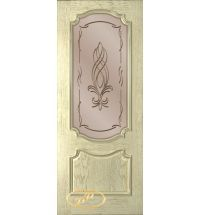 фото: Дверь Премьера, шпон натуральный дуб тон слоновая кость, стекло сатинат бронза рис.Бутон, гравировка