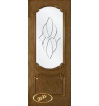 фото: Дверь Премьера, шпон натуральный дуб тон ольха, стекло сатинат рис.Паутинка, гравировка