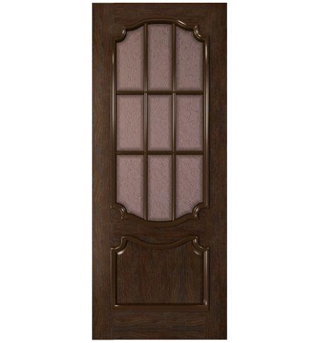 фото: Дверь Премьера, шпон натуральный дуб тон каштан, стекло дельта бронза