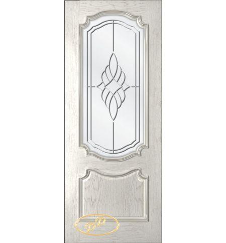 фото: Дверь Премьера, шпон натуральный дуб тон капучино, стекло сатинат рис.Ирис, гравировка