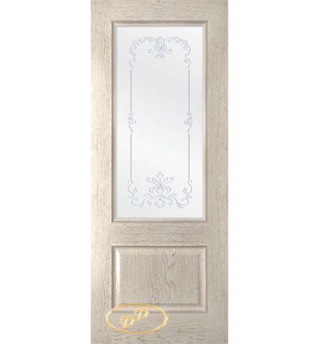 фото: Дверь Пальмира, шпон натур.дуб тон латте, стекло сатинат наплыв прозрачный рис.1